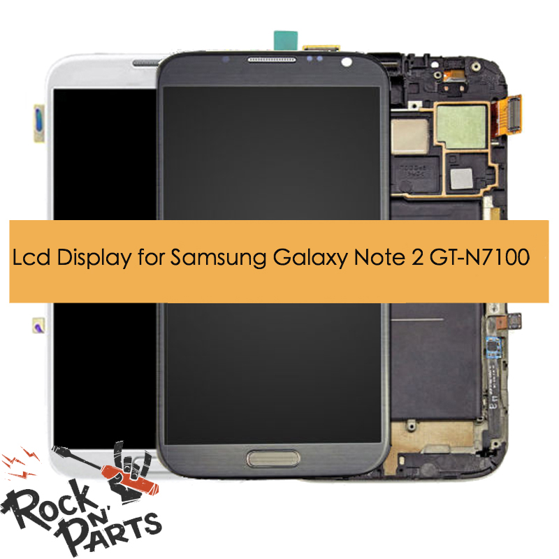 100% Original AMOLED LCD display assembled with touchscreen with frame for Samsung Galaxy Note 2 GT-N7100 II N7105 N7100 image