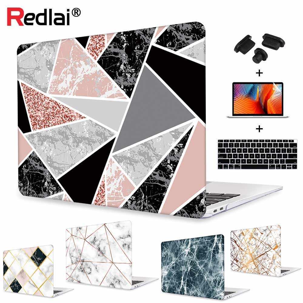 """Funda dura de plástico con patrón de mármol Redlai para MacBook 12 """"Air Pro Retina 13 15"""" cubierta con Protector de pantalla de la cubierta del teclado"""