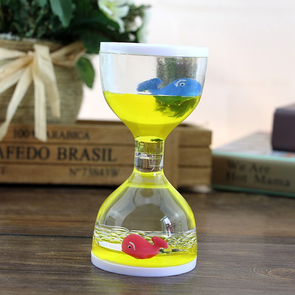 Liquid Motion Bubbler Timer Desk Sensory Toy Dolphin Animal Floating Oil Hourglass For Fidgeting Stress Relief Gifts Yellow