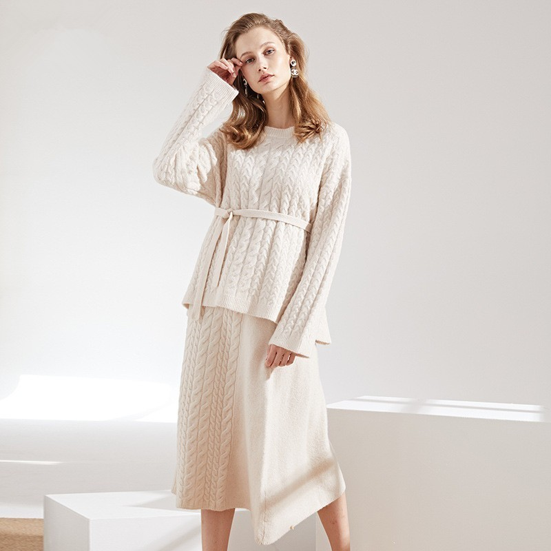 2018 Autumn And Winter New arrival Knitting Suit Woman long Sleeve pullover Sweater and knitting skirts Twinset Woman in Women 39 s Sets from Women 39 s Clothing