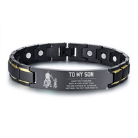 Men Stainless Steel Bracelet Magnetic Therapy Healing Health Hologram Bracelet Bangle Man Free Engraving