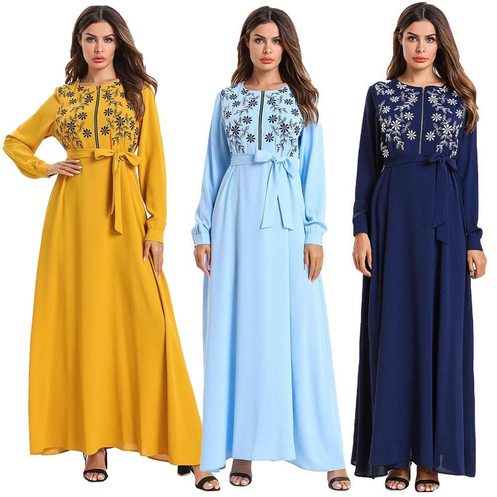 Muslim Women Embroidery Long Maxi Dress Robe Abaya Zipper Breast Feeding Islamic Clothes Ramadan Dubai Kaftan With Belt Fashion