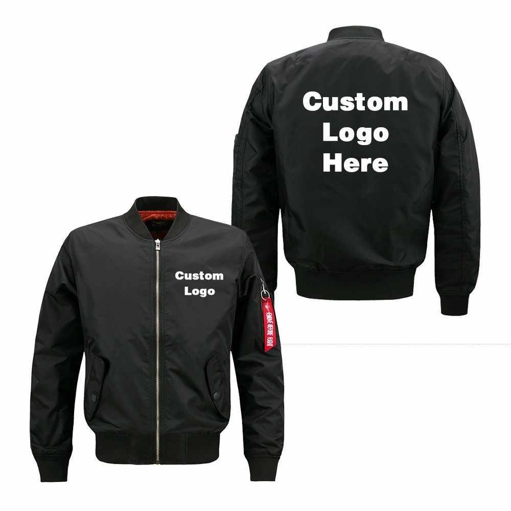 Eua tamanho 2020 primavera outono personalizado diy logotipo design masculino jaqueta de vôo impressão fina com zíper casaco bombardeiro jaqueta unissex outerwear