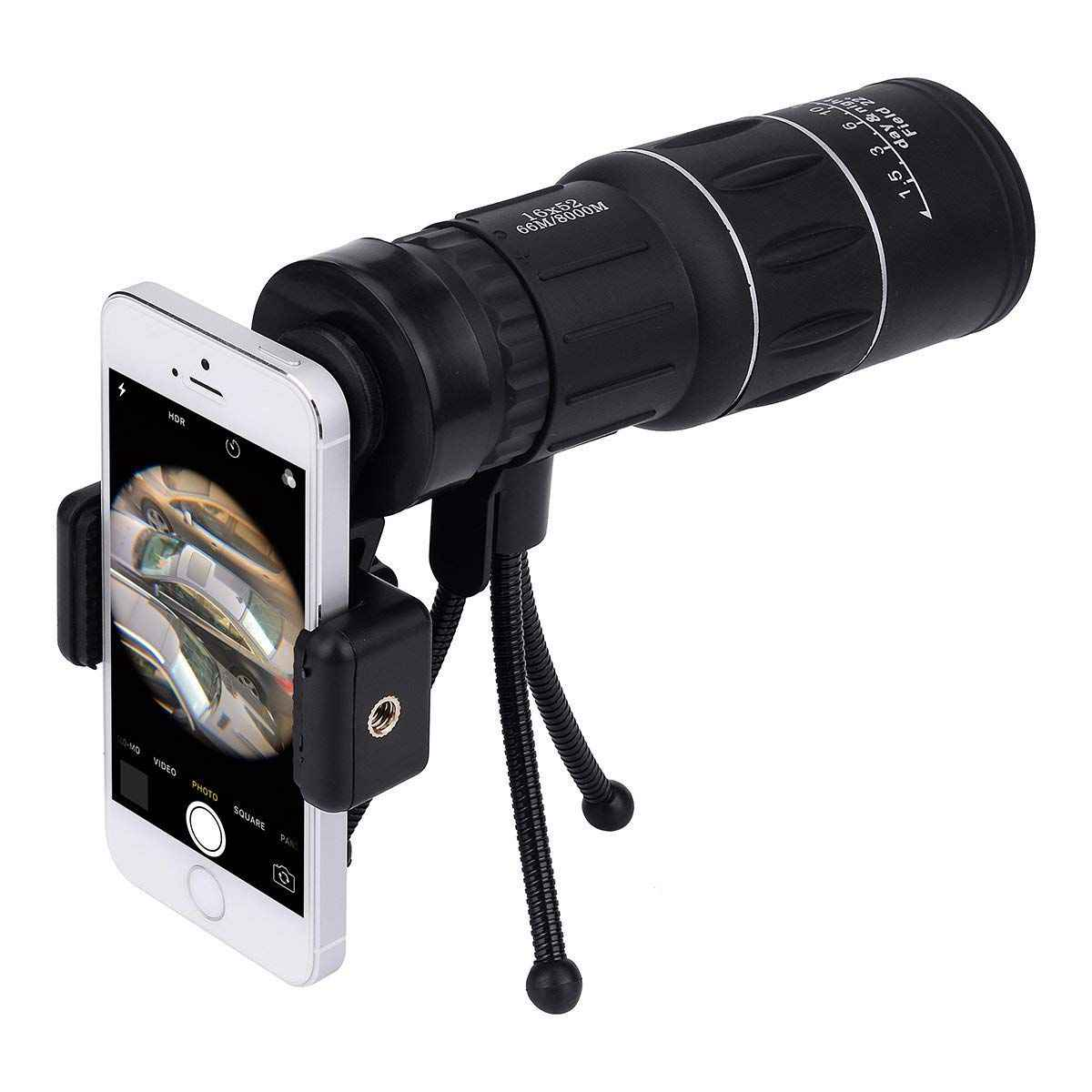 16x52 Dual Focus Monocular Telescope, Waterproof Spotting Scopes, HD Wide View, with Tripod/Universal Cell Phone Adapters for