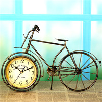 New electronic desk clock vintage Antique Style Wrought Iron Bicycle Table Clock Creative Gift Watch Home Decor Bedroom Desk