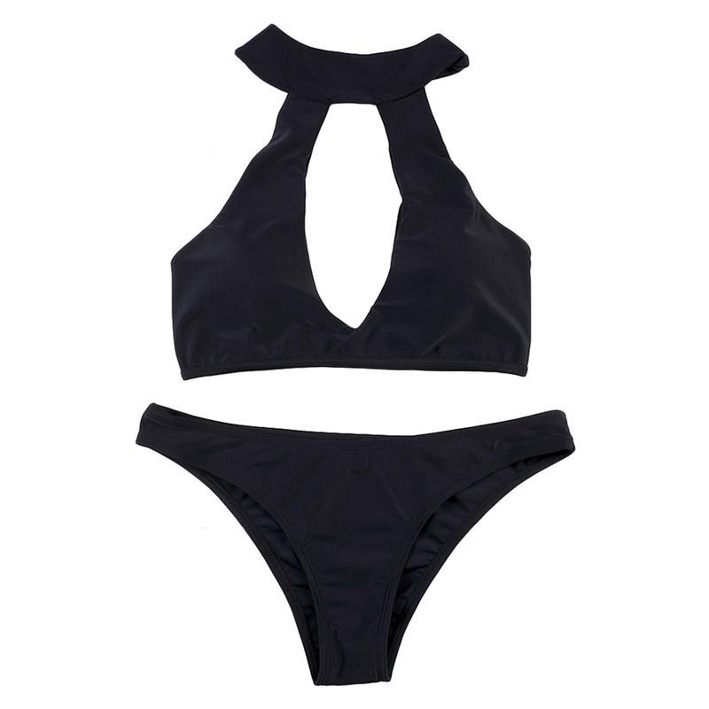 Женские Глубокий V образным вырезом сексуальное бикини чистый черный Грудь Pad купальник XL хорошее качество удобные