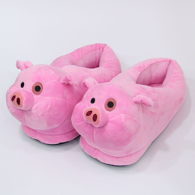 d85cca9ee Gravity Falls pig Cartoon Slipper Winter warm Indoor cotton shoes Soft Plush  Stuffed Toys Cute Home slippers Unisex X'MAS Gifts
