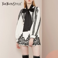 TWOTWINSTYLE Lace Shirt Skirt Women's Sets Long Sleeve Lace up Blouse Tops Female High Waist Sexy Mini Skirts Suits 2019 Spring