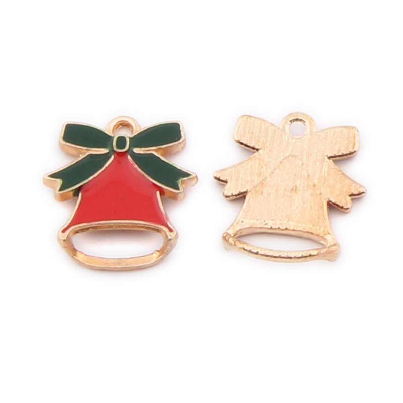 Breloques de noël en émail amulettes flottantes pour la fabrication de bijoux charme bricolage Clip en alliage de Zinc 10 pièces/sac