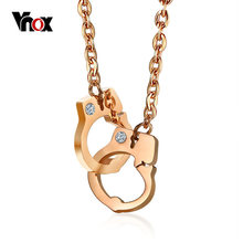 Vnox Women's Crystal Stone Handcuffs Choker Necklace Rose Gold Color Stainless Steel Pendant Necklace for Women Girl Jewelry(China)