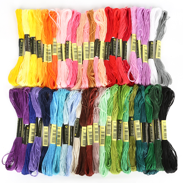 100pcs/bag Mixed Color  7.5m Cross Threads Cross Stitch Cotton Embroidery DIY Craft Material Supplies Decor Thread Line 6