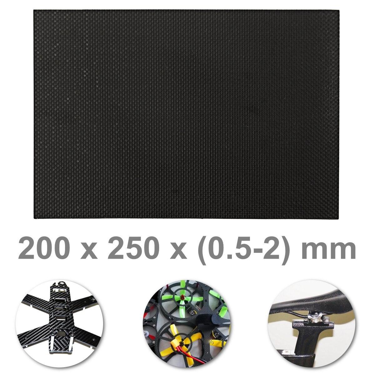 0.5mm/1mm/1.5mm/2mm 25x20 Cm Carbon Fiber Plaat Panel Sheet Tabby Mat Oppervlak Board Rc Speelgoed Accessoires Platbinding Zwart Modern Ontwerp