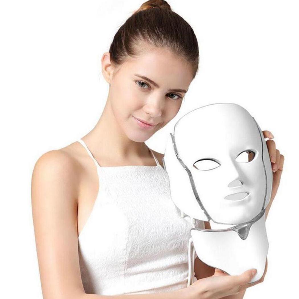 Lumière LED pratique masque Facial visage maison et cou masque rajeunissement de la peau thérapie de masque LED