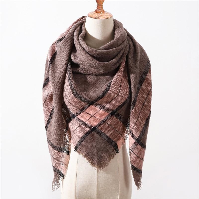 2019 New Spring Winter Triangle Scarf For Women Plaid Warm Cashmere Scarves Female Shawls Pashmina Lady Bandana Wraps Blanket