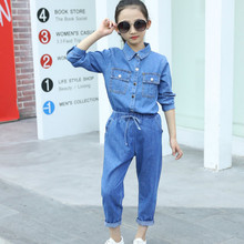 цена на 2019 new spring kids denim clothes set autumn children's cowboy two-piece body suit girls jean jacket clothing set girl jeans