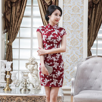 Dark Red Printing Lace Qipao Dresses Chinese Traditional Summer Cheongsam Dress Short Sleeve Vestido Modern Exquisite Chipao XXL