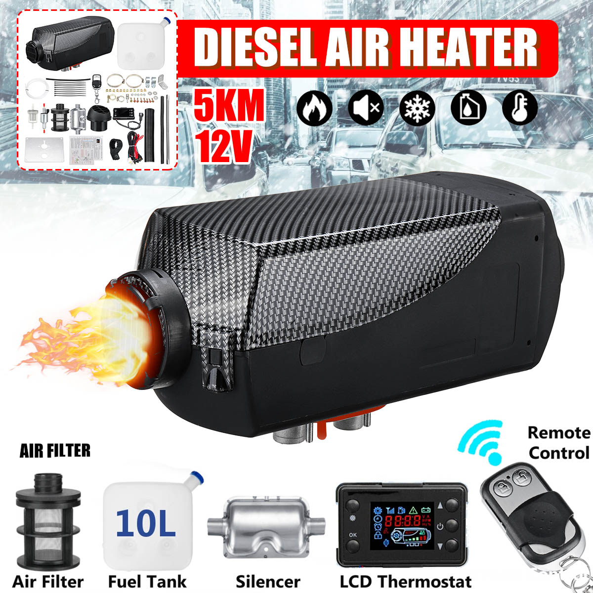 Diesel Air Heater 5KW 12V Planar LCD For Car Trucks Boats Motor-Homes Latest Kit Monitor for RV Motorhome Trailer With RemoteDiesel Air Heater 5KW 12V Planar LCD For Car Trucks Boats Motor-Homes Latest Kit Monitor for RV Motorhome Trailer With Remote