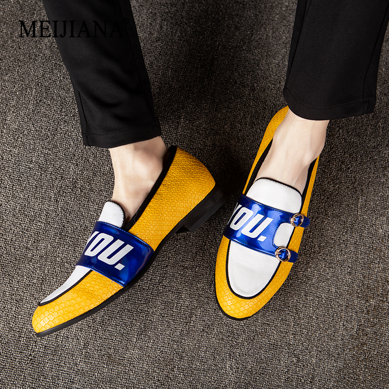 MEIJIANA Handmade Comfortable Leather Men s Loafers Yellow Men Shoes 2019 New Listing Fashion Casual Shoes