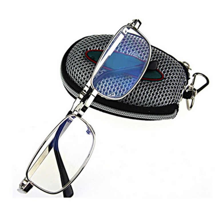Gafas de lectura plegables de Metal iboode con estuche de cremallera gafas de presbicia de lectura de plata para hombre y mujer Unisex