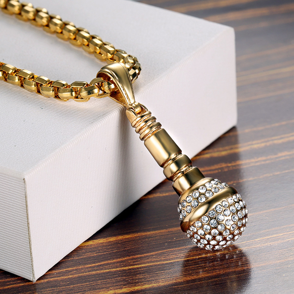 QMHJE Microphone Pendant Chain Men Necklace Gold Silver Color Micro Paved CZ Male Hip Hop Jewelry Punk Stainless Steel AAN018 in Pendant Necklaces from Jewelry Accessories