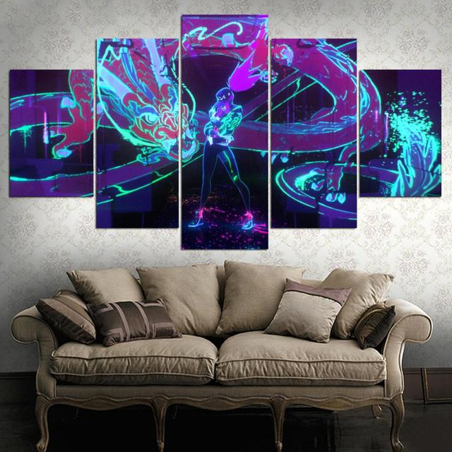 HD canvas printed painting 5 piece League of Legends KDA Akali Splash Art Home decor Poster Picture For Living Room YK-1226 4