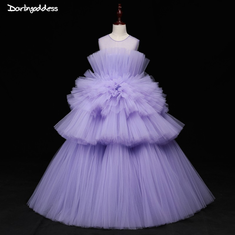 High End Purple   Flower     Girl     Dresses   For Weddings 2019 Kids First Communion   Dresses   Princess Pageant Gowns Prom   Dress   for   Girls