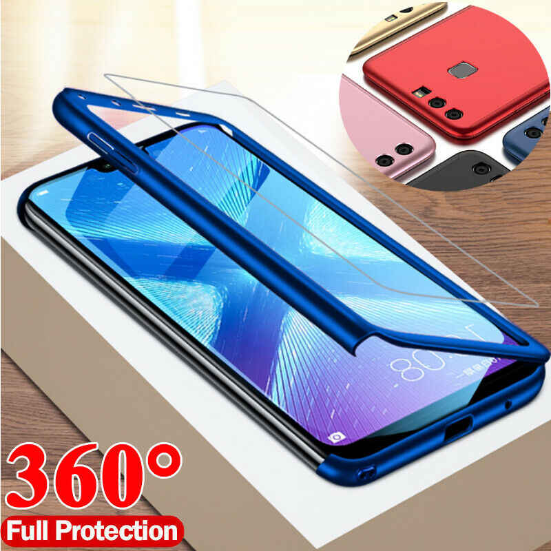 Luxury 360 Full Cover Phone Case For Huawei Y7 Pro 2019 P30 P20 Mate 20 10 Lite Tempered glass Protective Cover Honor 8X 8C Case
