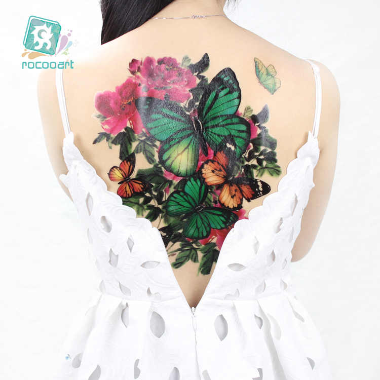 New 2019 Large Full Back photography props tattoo women Temporary Tattoo Sticker butterfly phoenix  waterproof tatoo Blue dragon