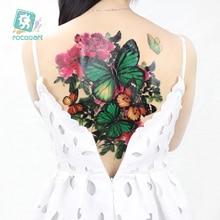 New 2019 Large Full Back photography props tattoo women Temporary Tattoo Sticker butterfly phoenix  waterproof tatoo Blue dragon