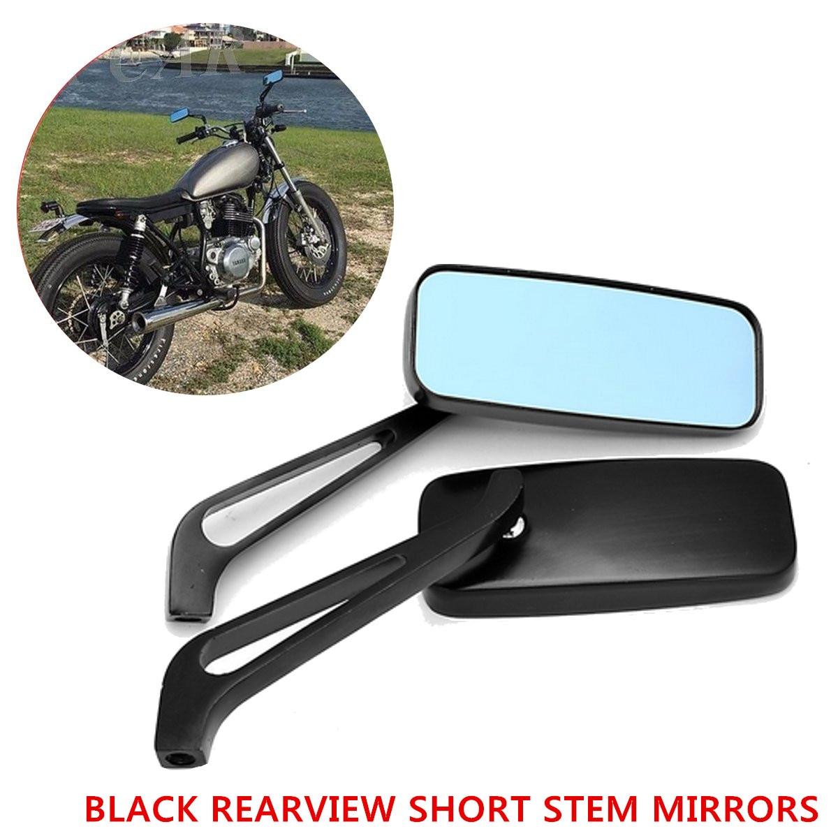 1 Paar Zwarte Korte Steel Achteruitkijkspiegels Voor Harley-davidson Dyna Electra Glide Ijzer 883/fatboy Road Glide Sportster Street Glide