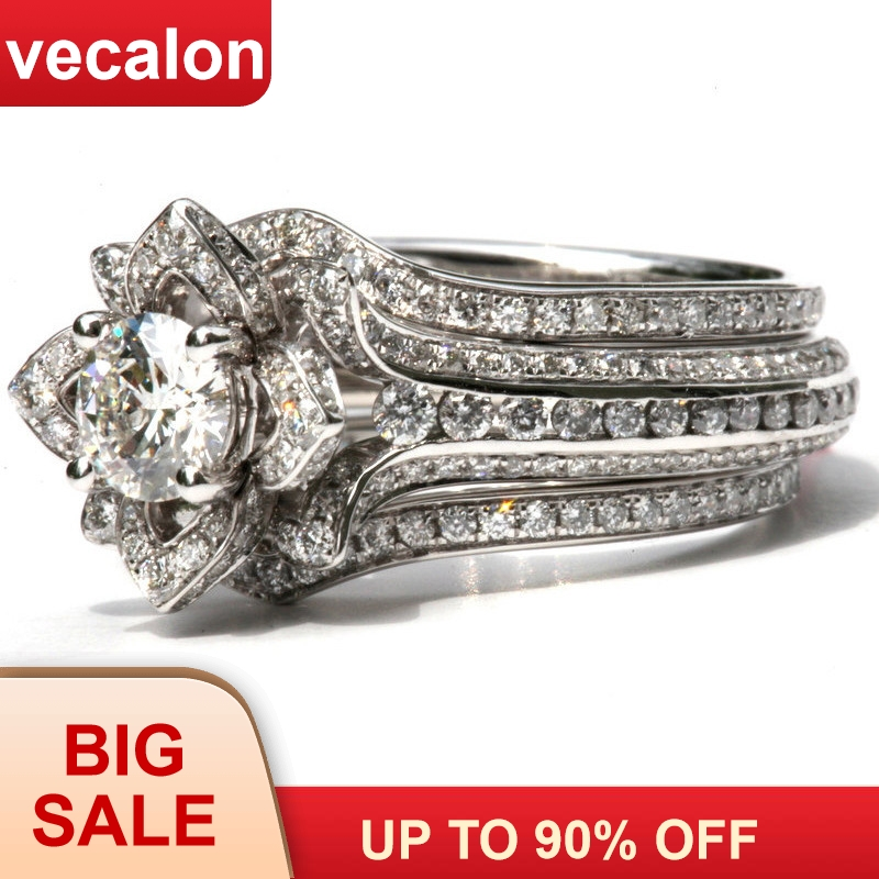 Vecalon 3-in-1 Flower Ring Sets 925 Sterling Silver AAAAA Cz Engagement Wedding Band Rings For Women Men Luxury Finger Jewelry