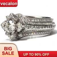 Vecalon 3-in-1 Blume ring sets 925 sterling silber AAAAA Cz Engagement hochzeit Band ringe für frauen männer Luxus Finger Schmuck