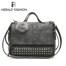 Herald Fashion Women Handbags with Rivets Quality Leather Fe