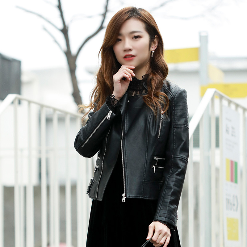 Leather   Jacket Women 2019 Spring New Design PU   Leather   Jacket Soft Black Faux   Leather   Coat Stand Collar Slim Motorcycle Jackets