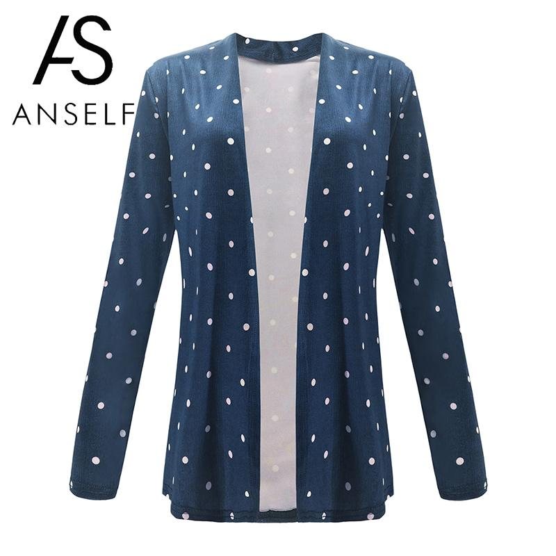 Fashion Women Autumn Casual Thin Coat Dotted Splicing Open Front Long Sleeves Elegant Cardigan   Basic     Jacket   Outerwear Overcoat