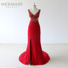Mermaid Bride Backless heavy beading split evening dress