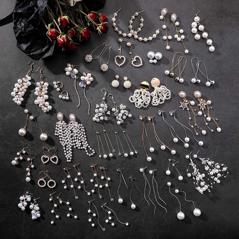 Long 2019 New Arrival 19 Models 1Pair Simulated pearl Sweet Heart-shaped Geometric tassel Seaside Drop Earrings Women Hollow Out