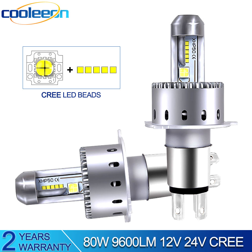 COOLEEON Car LED Light Bulb for Automotives H1 H4 H7 LED Lamps 9600LM Super Bright LED Headlight Lighting for Cars 6500K White