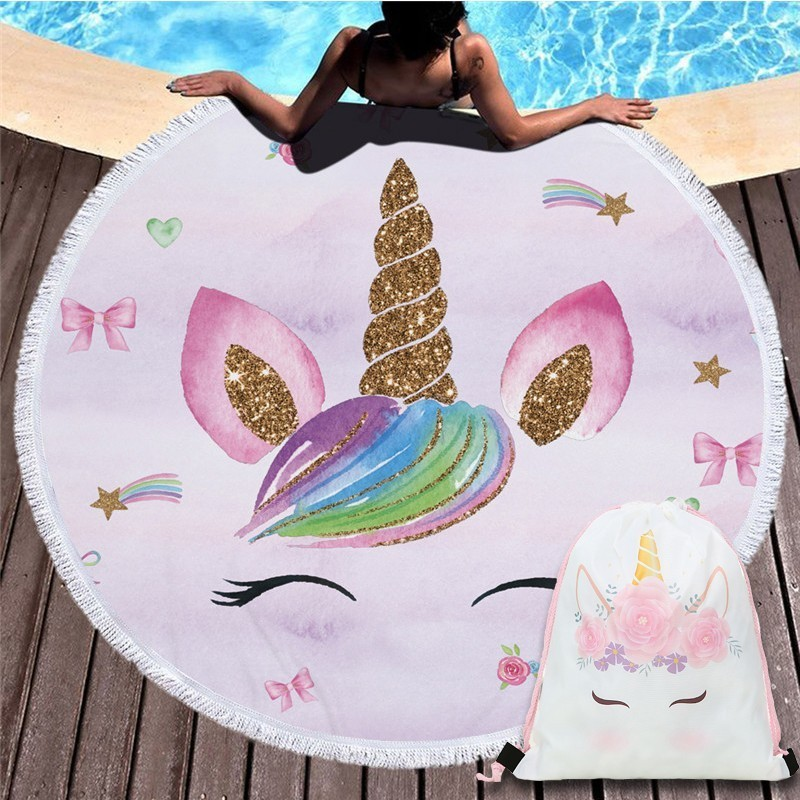 Beach Towel Bundle: 2019 New Cartoon Unicorn 150cm Large Round Beach Bath