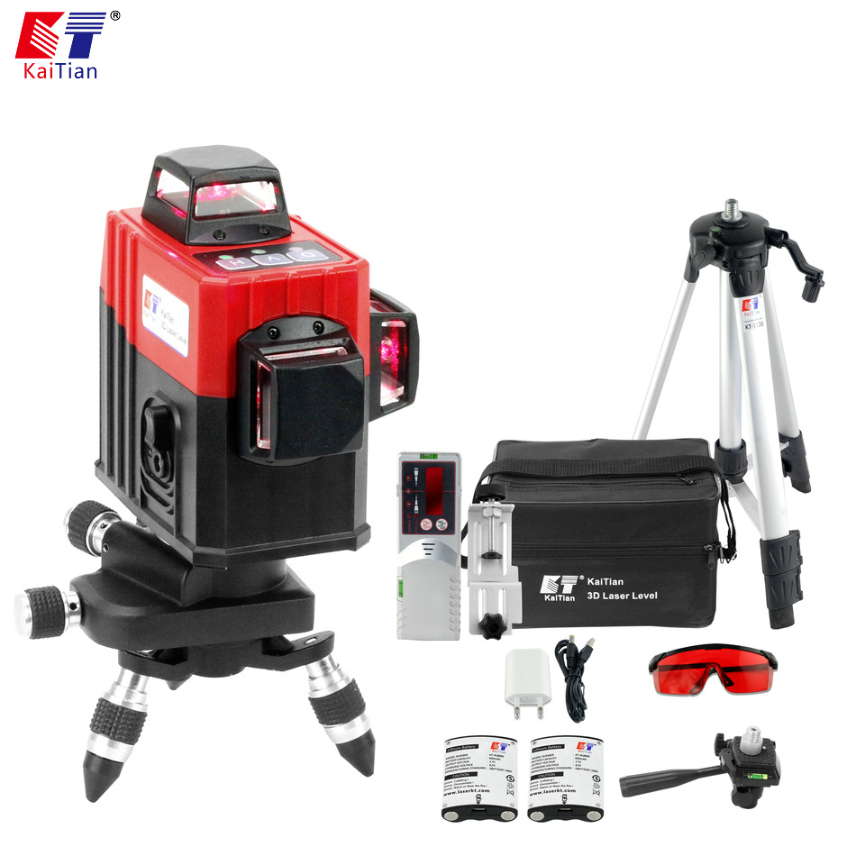 KaiTian 12Lines Laser Level Tripod Self Leveling 635nm Vertical 360 Rotary Horizontal Nivel Lasers Receiver Beam