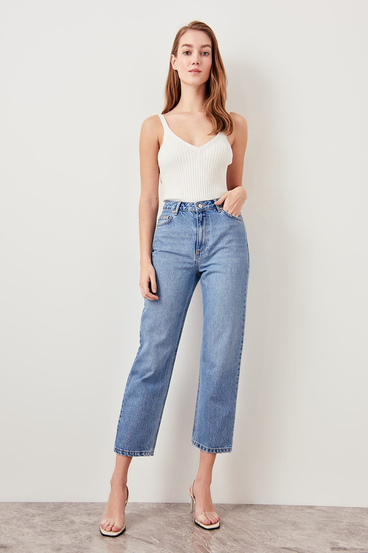Trendyol Blue Black High Waist Boyfriend Jeans Straight-leg Casual Denim Ankle-length Pant TWOSS19LR0176()
