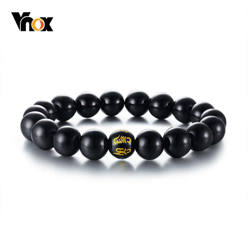 Vnox Retro Beads Charm Bracelet with om mani padmei hum Buddhist Culture Prayer Pulseira Jewelry