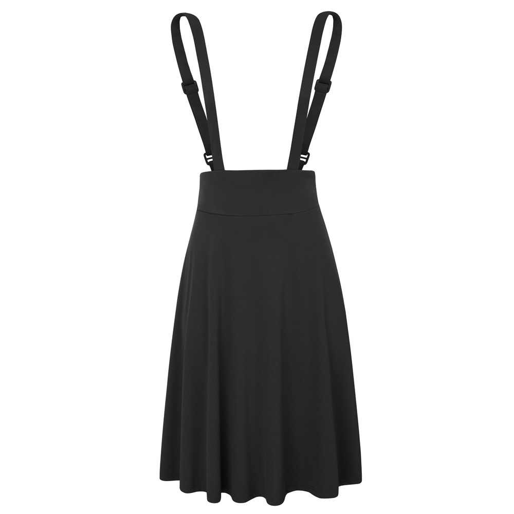 70d788380b003 BP black red Suspender Skirts Women korean fashion Vintage Solid Color high  stretch Pinafore Flared