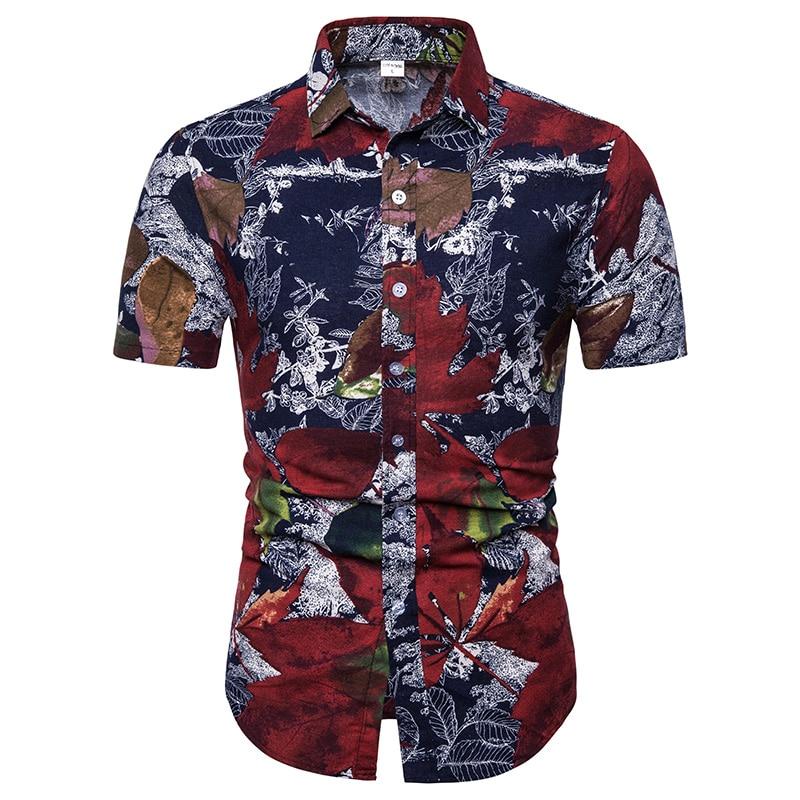 b78da0639cae29a Мужская Летняя модная пляжная гавайская рубашка, брендовая приталенная  рубашка с коротким рукавом и цветочным принтом