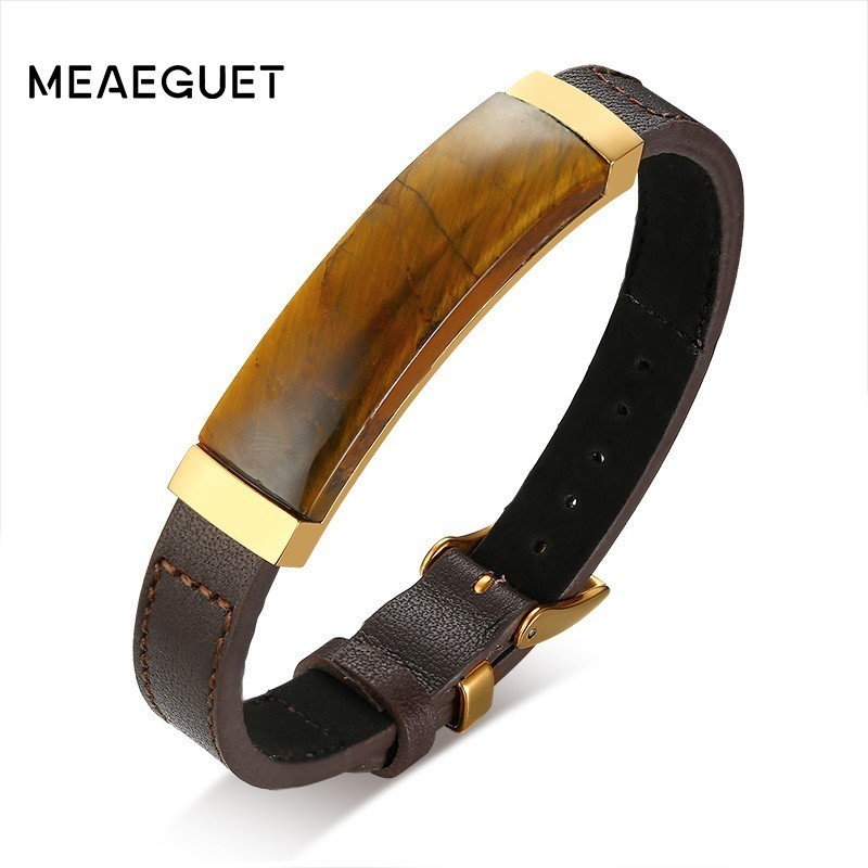 99% Men Leather Genuine Bracelet Brone Color With Tiger Eye Stone Adjustable Length Luxury Male Bangle 8.7