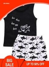 Newborn Baby Boys Summer Shark Tops Letter Sleeveless T-shirt Shorts 2Pcs Outfits Set Clothes