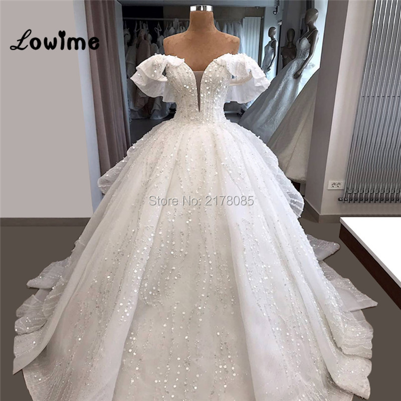 Off Shoulder Shiny White Wedding Dresses 2019 Couture Luxury Arabic Dubai Middle East Women Bridal Gowns Long Bridal Dress New