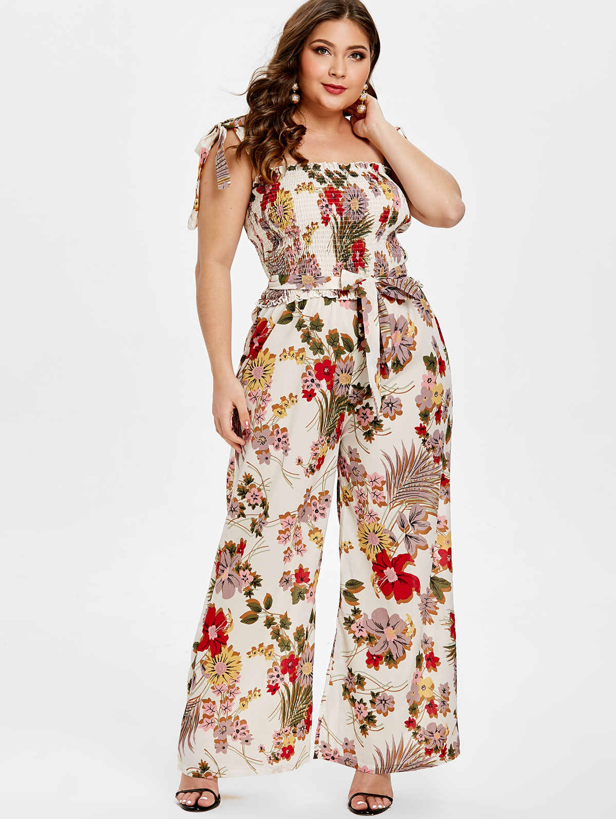 Wipalo Women Summer Plus Size Shirred Floral Print Jumpsuit Sleeveless  Casual Tie Shoulder Bowknot Belted Wide 3c62323669d8