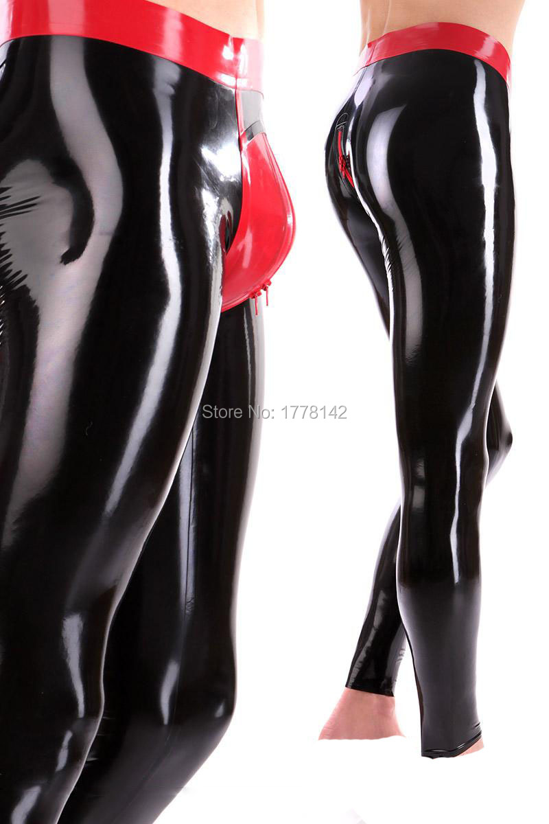 Sexy Men Latex Trousers WITH RED WAIST 3D Crotch Two way zip customized