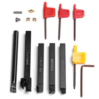 DANIU 5pcs 10mm Shank Lathe Turning Tool Holder Boring Bar CNC Tools Set with Carbide Inserts and Wrenches